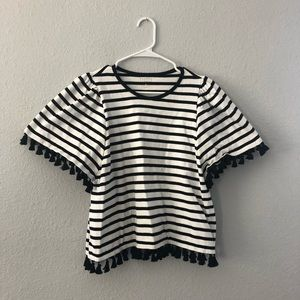 Kate Spade Black & white striped top